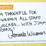 I'm thankful for bi-weekly all staff lunches…with Jimmy Johns!