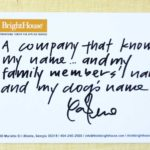 (I'm thankful for) a company that knows my name…and my family members' names and my dog's name.